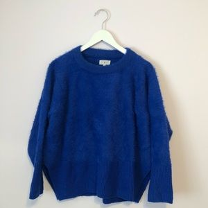 Cobalt eyelash cropped oversized sweater